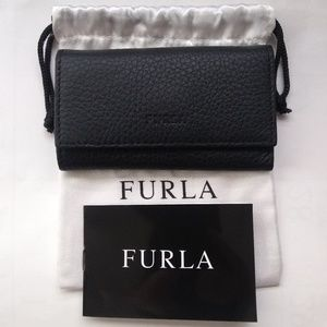 Furla Key Ring Card Case Leather Trifold Wallet